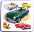 MGBGT and MG roadster drinks coaster gift  classic British car