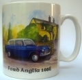 Ford Anglia 105E mug, gift for classic Ford fans