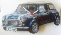 Mini Cooper wall clock car gift (blue), hand made in England