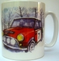 Original Mini Cooper rally mug, gift for Mini Cooper fans