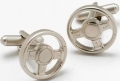 Motor sport three spoke steering wheel cufflinks, classic car gi